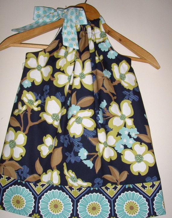 on Sale 15.29 Normally 17.99 Joel Dewberry Dogwood in Lake   girls  pillowcase dress (sizes large to xlarge)