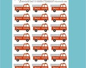 firetruck personalized dishwasher safe labels, set of 2 sheets, 42 labels
