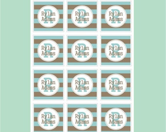 blue chocolate personalized dishwasher safe labels, set of 24 labels