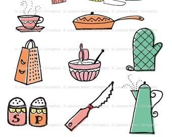 Retro Kitchen Goodies: Pot, pan, coffee, cutlery, oven mitt, cooking digital printable clipart