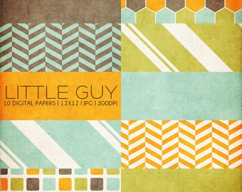 12x12 Digital Papers - Little Guy Collection - Great for Scrapbooking or Photographers - 10 .JPG Files (300dpi) - PX8009 Instant Download!