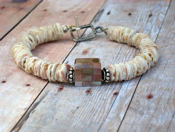 Mother of Pearl Bracelet - Shell Heishi - Pink, Peach, Beige, Ivory - Neutral Colors - Sterling Silver Hill Tribes - Gift Box