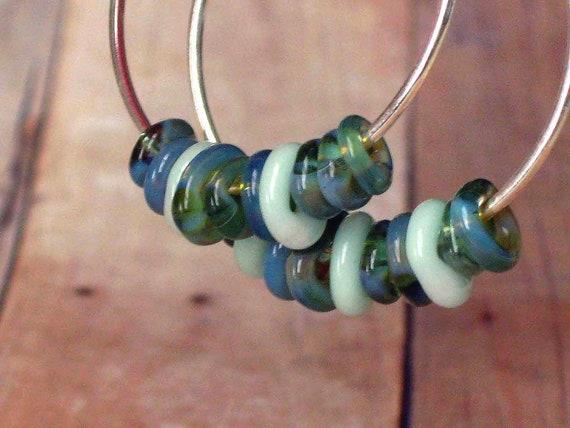 Silver Hoop Earrings with Aqua Blue Green Lampworked Glass Rings - Stocking Stuffer - Under 15 - Free Shipping - Secret Santa