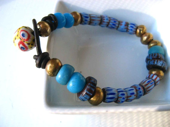 African Trade Bead Bracelet - Tribal, Native Chevrons - Dark Brown Leather - Copper, Indigo Blue, Yellow - Unisex - Gift Box