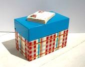 Vintage Metal Recipe Box - Red & Blue Plaid - Recipe Sticker Labels