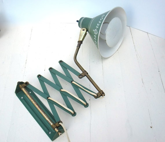 Wall Mounted Accordion Lamps : Vintage Green Scissor Accordion Arm Expandable Wall Mount Lamp