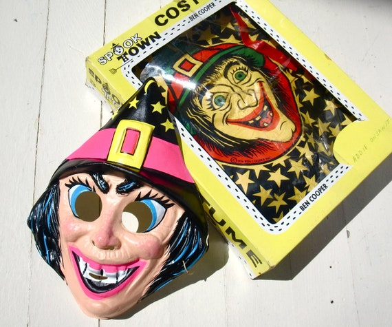 Vintage 1974 Ben Cooper Witch Costume Mask and Original Box