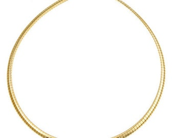 15 inch Gold Fill Omega Chain Necklace 1mm Round with Lobster Clasp