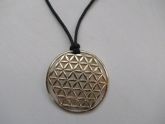 Amazing 14kt Gold Flower Of Life Pendant Necklace With Leather