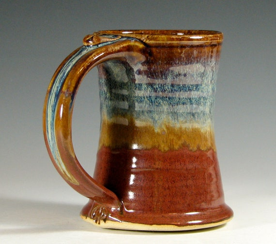 Ceramic coffee mug, beer tankard,  stein cup, glazed in brick red and cream, handmade by hughes pottery