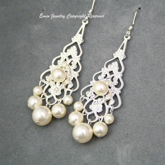 Bridal Chandelier Earrings, Ivory Pearl Bridal Earrings, Rhinestone and Pearl Earrings, Bridesmaid Earrings, Filigree Silver Earrings