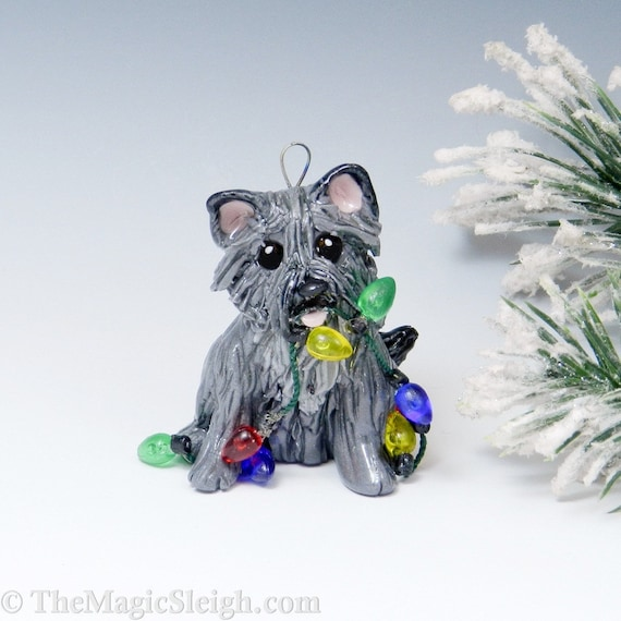Cairn Terrier Ornament Gray with Christmas lights Porcelain