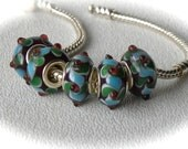 European Charm Beads Berry Spice Silver Core Lampwork Glass Bead