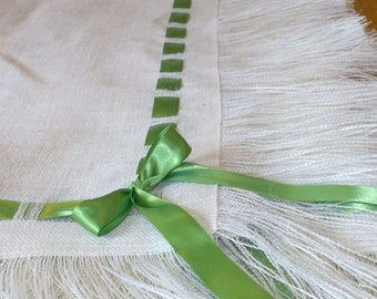 Ivory Burlap Tablecloth with Fringe and Ribbon