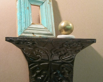 "Repurposed Tin Ceiling Shelf / Ledge Shabby (Chic) 1 Foot 12""x8.5""x6"" S741-12"