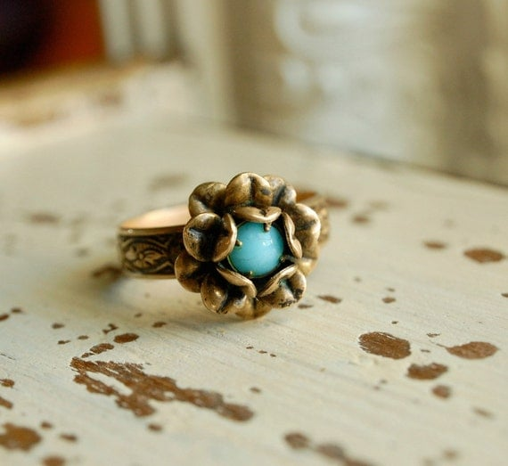bel fiore - vintage inspired ornate layered hand aged brass rose blue glass jewel adjustable ring