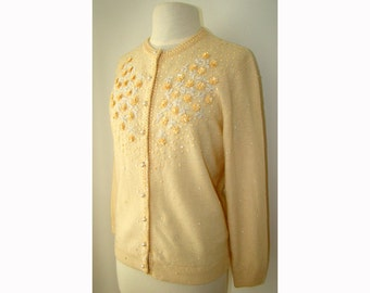 SALE! Cream Ivory Beaded 1960's Sweater 60s Cardigan