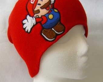 Red Hat Mario Beanie Skullcap - made with vintage up-cycled Mario fabric