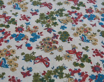 Graphic Butterflies, Bold Colors -  Vintage Fabric Novelty Mod 50s 34 in wide