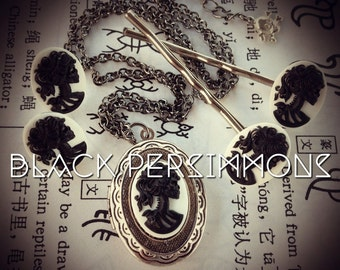 Miss Skeleton Locket Cameo Earrings Hair Bobby Pins Set - Black on White Skull Lolita Lady Girl Profile Day of the Dead Cameos