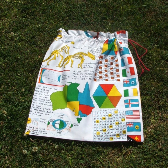 Drawstring library bag school charts and diagrams cotton large for toys sheets storage