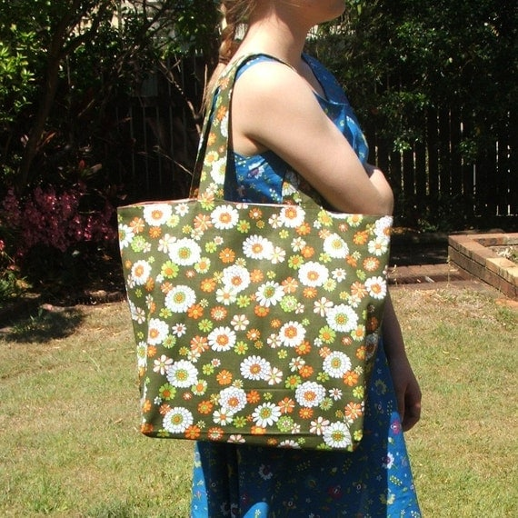 Shopping or tote bag retro flowers green orange white cotton spacious strong lined