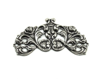 Single Antiqued Sterling Silver Plated Victorian Style Barrette Stamping / Embellishment Centerpiece with Roses