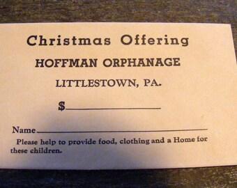 Old unused Christmas Offering Envelope for Hoffman Orphange Littlestown PA Orphans
