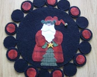 Santa Clause Wool Penny Rug