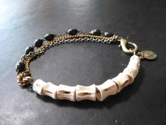 Osteology - Fish Vertebrae and Vintage Chain Tangle Bracelet