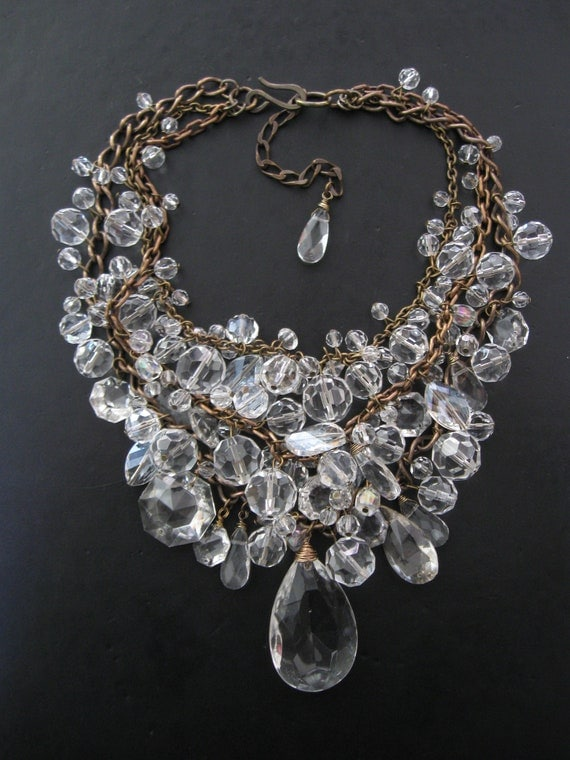 Toil And Trouble - Brass Chain and Crystal Bib Statement Necklace