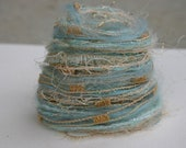 Elegant subtle Christmas blue and gold harmony specialty yarn fiber embellishment bundle