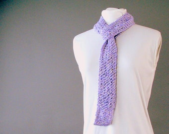 Handknit Cotton Lace Lavender Fashion Scarf - Skinny Fashion Accent for Adult Female