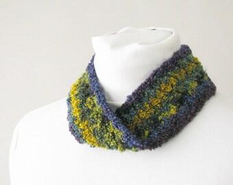 Brown Green and Mustard Ombre Ear Warmer - Crochet Ear Muffs - Striped Infinity Headband