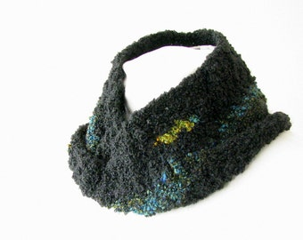 Black Boucle Infinity Scarf - Hand Crocheted Loop Scarf with Turquoise Stripe