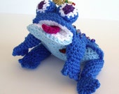 Frog Toy Crochet Blue Prince with Gold Jeweled Crown Rainbow Blue Beads Stuffed Toy
