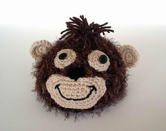 Fuzzy Brown Monkey Crochet Hat Kids Baby Size Photo Prop