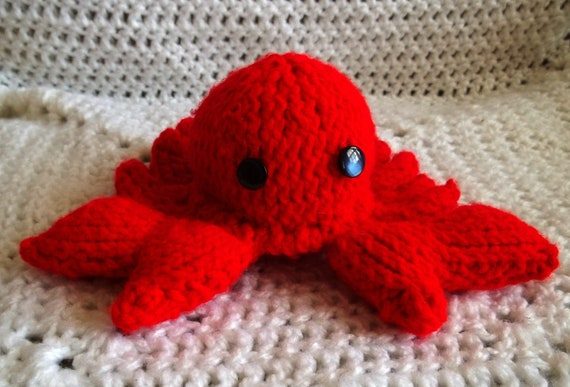 Stuffed Animal - Red Crab Toy - Knitted Sea Creature - Sea Animal