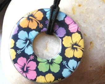 Lovely Aloha Hawaii Flower Collage Upcycled Paper Washer Pendant Necklace
