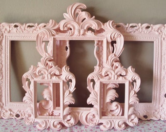 Picture Frames Cottage Shabby Chic 5 Open Frames Wall Gallery Soft Pink or Your Color Frames Princess Wedding Home Decor Reception Baby
