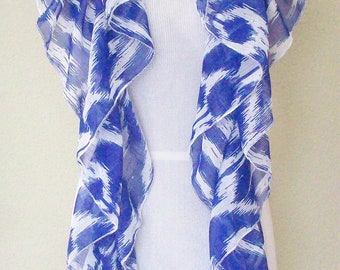 Blue Ikat Scarf, Women's Silky Blue Tribal Ikat Ruffled Scarf, Eclectasie