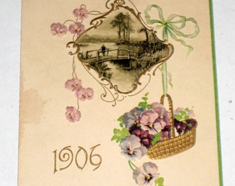Antique 1906 Calendar Card