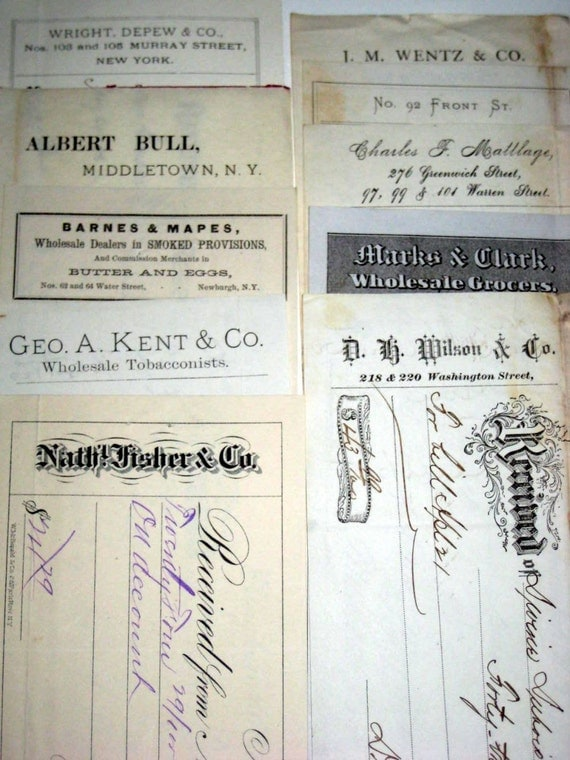 10 Antique Victorian Assorted Receipts for Collecting or Crafting