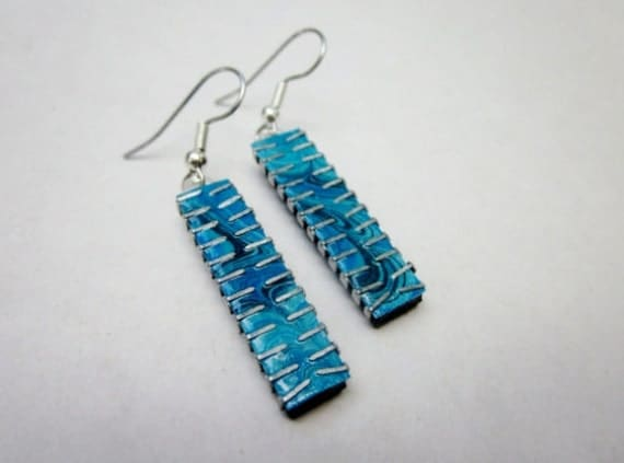 Upcycled Computer Chip Earrings in Turquoise Blue Swirl