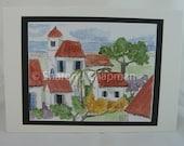 Watercolor  Card Tropical Villas