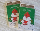 Christmas Party Invitations set of 16 Snowman Vintage Gibson Greeting