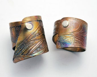 Copper etched silver riveted ring