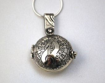 Sterling Silver locket  - moongazing hare - hinged design - etched locket