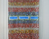 Green Flashes, Moving Lines - bottle cap tapestry - Made to Order