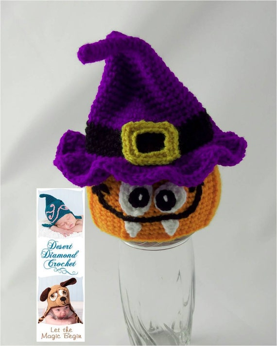 Pumpkin Witch Warlock Hat - Any Size - Any Color Combo